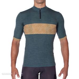 NEW 2021 Campagnolo EKAR GENEBE Short Sleeve Gravel Cycling Jersey : GREEN/OCHRE