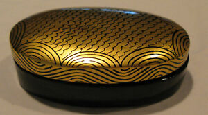 BLACK LACQURED AND GOLD TRINKET BOX