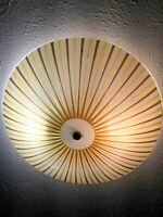 "Vintage Bent Glass 15"" Round Ceiling Light Lamp Shade Cover NOS NIP Stripes"