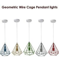 Metal Pendant Light Ceiling Industrial Geometric Wire Cage Hanging Lampshade