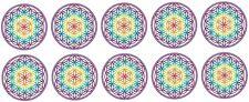 adhesivo flor de la vida 10 unidades Set de 5cm Arcoíris Colores fondo blanco