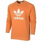 Adidas Originals Trefoil Crew Neck Mens Sweatshirt Sweater Jumper Orange Warm-Up
