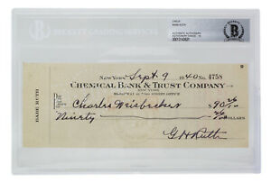 Babe Ruth Signed Slabbed Personal Bank Check Autograph Graded 10 BAS