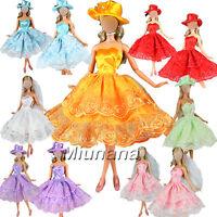 3 pcs Vestiti + 3 pcs cappello selezionati a caso + 3 pcs scarpe per barbie