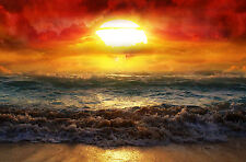 Large Framed Print - Colourful Storm at Sea (Ocean Waves Sunset Picture Poster)