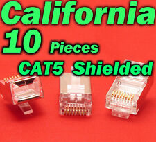 10 X Pcs CAT5 Shielded 8P8C RJ45 Socket Plug Network Modular Connectors Cable 5e