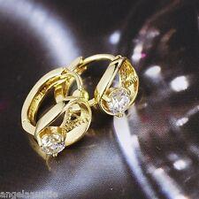 18K Yellow Gold Filled CZ Huggie Earrings (E-282)