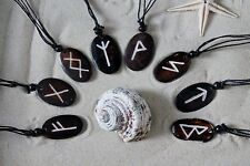 8 NEW RUNE STONE STYLE SYMBOLIC OVAL SHAPE CARVED NECKLACES IN BROWN / n029b