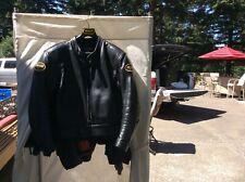 Vanson Mens Black Leather Motorcycle Racing Jacket CSR2 size 50 like new