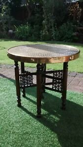 Old English Vintage Pub Style Brass Topped Folding Table