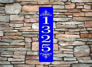 """Personalized Home Address Sign Aluminum 3"""" x 12"""" Custom House Number Plaque sq11"""