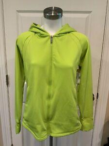 Under Armour Light Bright Green Zip-Up Hooded Sweatshirt W/ Pockets, Size Medium