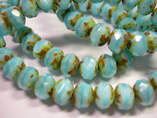 25 8x6mm Baby Blue Picasso Czech Fire polished Rondelle beads
