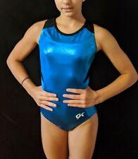 "GK Elite Gymnastics Leotard ""Rhapsody in Blue"" Foil Racerback Size AM"