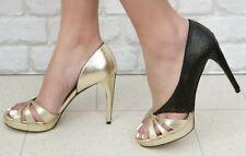 Nuevo Y En Caja Mo Helmi RRP £ 345 Zapatos De Tacón Cuero Italiano Diseñador Oro Negro Zapatos Sandalias