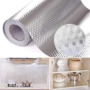 2 Roll Oil Proof Aluminum Foil Sticker Self Adhesive Kitchen 2m Waterproof Wall