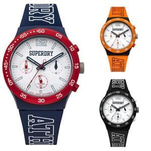 Unisex Watch SUPERDRY URBAN ATHLETICS SYG205 Chrono Silicone Black Blue Orange