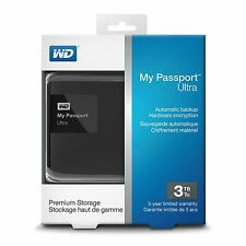 New WD My Passport Ultra 3TB USB 3.0 Portable Hard Drive Classic Black