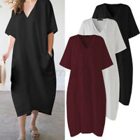 ZANZEA UK Womens Dress Solid Casual V-Neck Cotton Ladies Short Sleeve Sundress