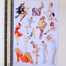 A4 SET Pin Up Sexy Girls Retro Bikini Vintage Luggage Label Decals Stickers (B)
