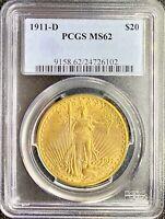 1911-D $20 American Gold Double Eagle Saint Gaudens • MS62 PCGS • LUSTROUS Coin!