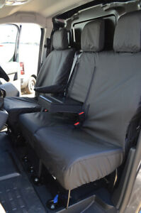 Black Waterproof Seat Covers Front 3 for Citroen Dispatch Van 2016+ W/ Worktray