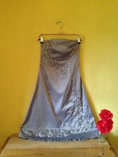 Size 8 silver embroidered floral silky bead beaded strapless wedding 50's dress