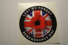 "POPPY STICKERS  X 2  REMEMBRANCE DAY RED POPPIES [ LEST WE FORGET]  4"" appr"