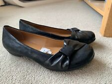 CLARKS BLACK LEATHER PUMPS WIDE FIT SIZE UK 4 E WORN ONCE