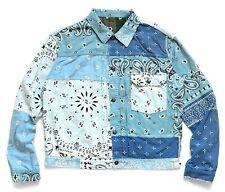 KAPITAL Flannel Reversible Bandana PT 1st Jacket Sax x Khaki Size 3 M New Blue