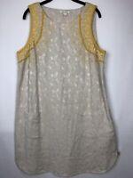 Monsoon London Embroidered Beaded Tunic Shift Summer Dress Lined BOHO Sz 14