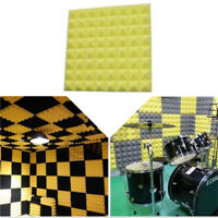 "yellow 19"" KTV Studio Foam Insulation Sound Proof Isolation Square Panel Tile EB"