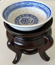 EXQUISITE ANTIQUE ASIAN FINE CHINA PORCELAIN MINIATURE CHINESE ART BOWL W STAND