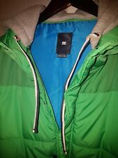 Used Men's DC SHOES Green/Grey Puffer Vest Hoodie Coat Spring Fall M 2011 HTF