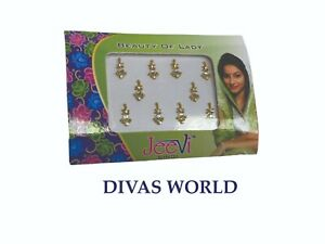 Golden Crytal Stone Bindi Cute Fancy Designer Indian Forehead Wedding Tikka