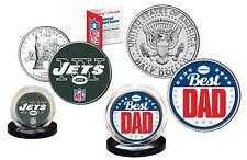 Best Dad - NEW YORK JETS 2-Coin Set U.S. Quarter & JFK Half Dollar NFL LICENSED