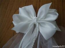 First Communion Veil White Double Boutique Bow w/Ribbon and Pearl Streamers NEW