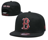 New Era  Boston Red Sox 9FIFTY MLB Snapback Hat Cap Flat Brim Black Red