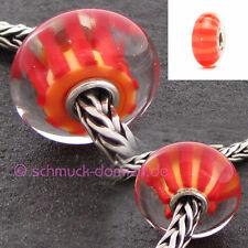 TROLLBEADS Glasbead Pfirsich Streifen / Peach Stripe Nr. 61452 - 5