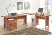 Eck Bürotisch Schreibtisch Walnuss Dekor inkl. Rollcontainer OFFICE LINE