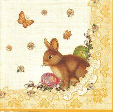 2 Serviettes en papier Lapin de Pâques Decoupage Paper Napkins Easter Rabbit