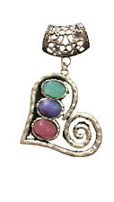 Large Heart Scarf Ring Pendant Slider With Coloured Stones