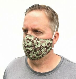 Handmade Face Mask for MEN Camo Print Comfortable Washable Nose Wire Camouflage
