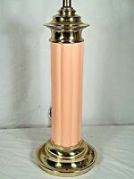 MID CENTURY MODERN CORAL GLAZED CERAMIC REEDED COLUMN LAMP ON A BRASS BASE