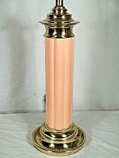 MID CENTURY MODERN CORAL GLAZED CERAMIC REEDED COLUMN LAMP ON A BRASS BASE