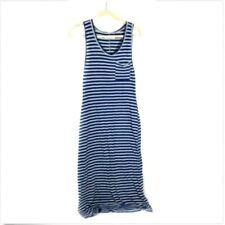 291 Venice Women's Striped Maxi Tank Dress Sz S 01 Navy Blue Gray Sleeveless
