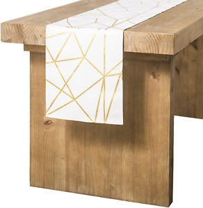 """Ling's moment Geometric-Inspired White and Gold Table Runner 14"""" X 72"""""""