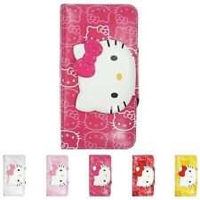HELLO KITTY Face Button Wallet Flip Cover Galaxy S20 S10 S9 Note20 Note10 Case