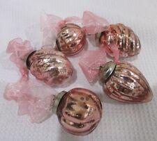 VINTAGE KUGEL STYLE PINK GLASS MINIATURE CHRISTMAS ORNAMENTS #158