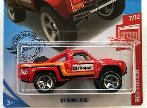 HOT WHEELS RED EDITION 87 DODGE D100 #7/12 TARGET EXCLUSIVE